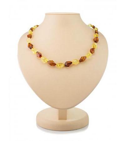 "Elegant beads made of natural lemon and cognac amber ""Crystal sparkling"""