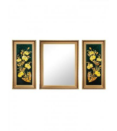 """A unique triptych with amber paintings and a mirror """"Orchid"""""""