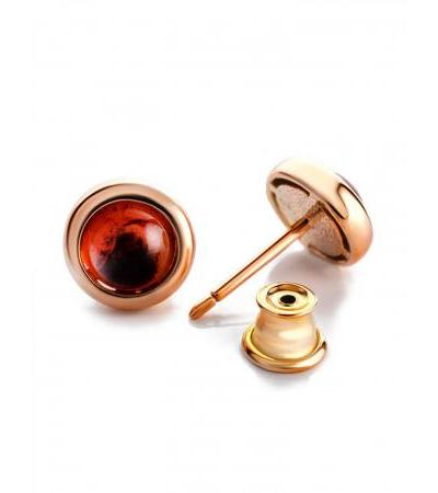 """Charming earrings-studs """"Berry"""" in gilded silver and amber"""