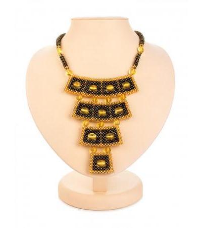 "Original stylish necklace made of beads and amber ""Lukomorye"""