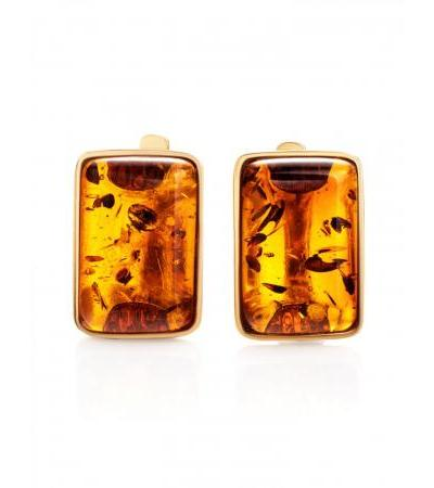 """Rectangular earrings made of gilded silver and cognac amber """"Sparta"""""""