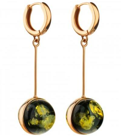 """Original elongated earrings """"Sorbonne"""" from green amber and gilded silver"""