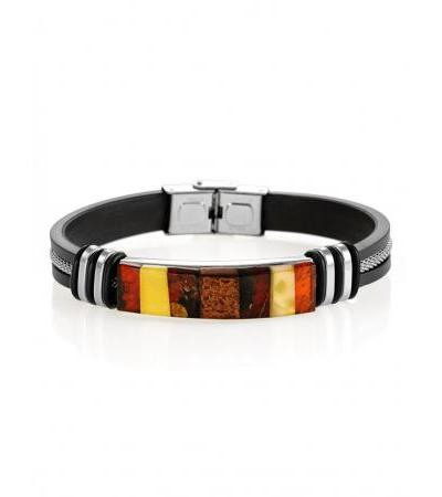 "Men's bracelet ""Silverstone"" with a picturesque mosaic of amber"