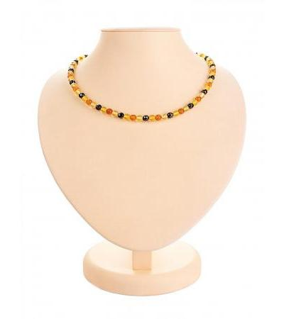 "Amber beads ""Motley caramel with diamond cut"""