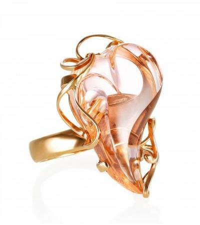 """Luxurious gold ring """"Serenade"""" with morganite"""