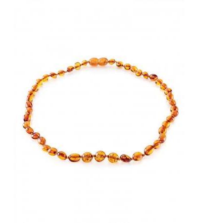"Children's necklace ""Olives"" from natural amber cognac color for children"