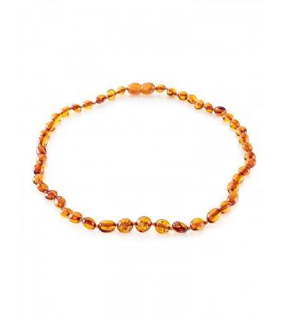 "Children's necklace ""Olives"" from natural amber cognac color for children"
