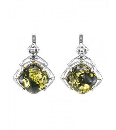 """Earrings made of silver and natural Baltic green amber """"Astoria"""""""
