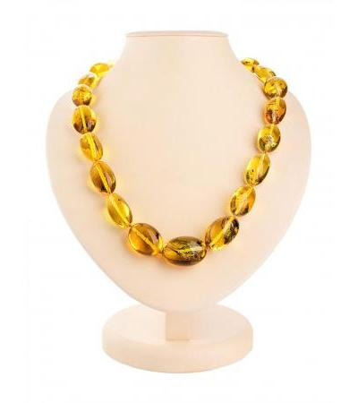 """Natural amber beads """"Large lemon plum"""" with insect inclusions"""