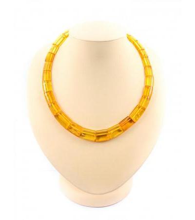 """Necklace made of natural amber """"Golden-lemon tubes"""""""