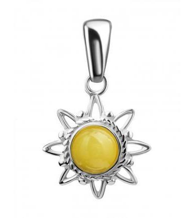 Небольшой кулон из серебра и натурального янтаря медового цвета «Гелиос»