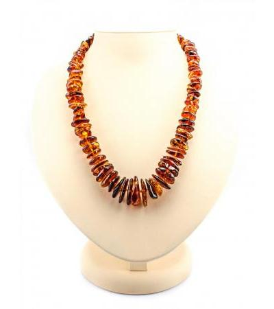 """Natural amber beads of beautiful cognac color """"Chips"""""""
