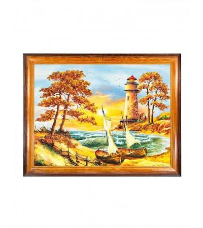 """Horizontally oriented panel, decorated with natural Baltic amber """"Waiting for calm"""" 34 (H) x 44 (W)"""