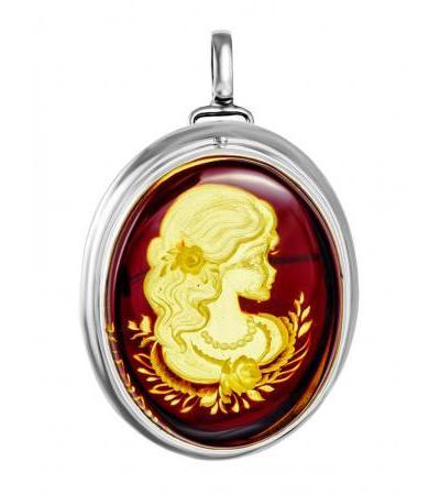Элегантная брошь-инталия «Элинор» из серебра и натурального балтийского янтаря