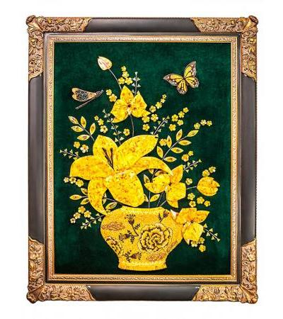 """Exclusive painting from natural Baltic amber """"Still life with a butterfly and a dragonfly"""" 121 x 96 cm"""