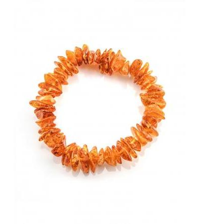"""Bracelet made of natural amber in bright cognac color """"Healing"""""""