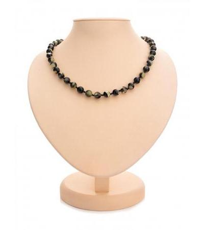 "Spectacular beads from amber mosaic ""Black Dalmatian balls"""