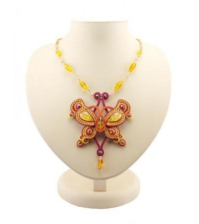 "Openwork braided necklace with inserts of natural honey-golden amber ""India"""