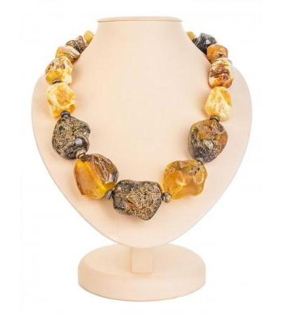 """Unique beads from large pieces of natural amber and brass """"Indonesia"""""""