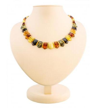 """Exquisite flat necklace """"Cleopatra"""" made of natural Baltic amber of different colors"""