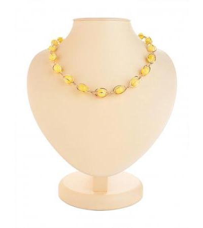 """Elegant necklace made of gilded silver with honey amber """"Algeria"""""""