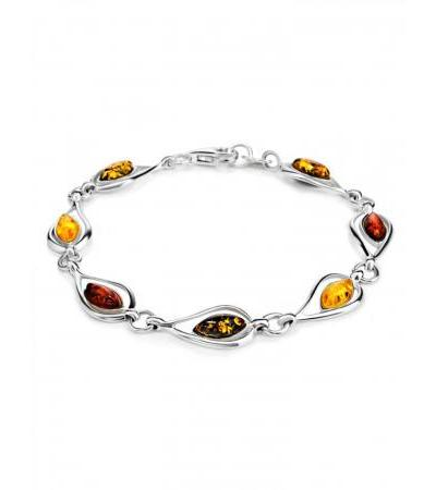 """Elegant silver bracelet """"Fiori"""" with different shades of amber"""