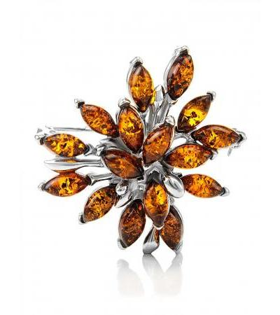 Красивая брошь-кулон «Георгина» из серебра 925 пробы и коньячного янтаря