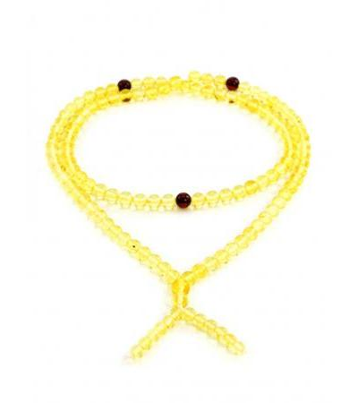 Buddhist rosary for 108 beads from natural lemon amber