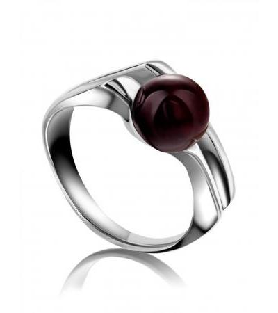 """Silver ring decorated with natural cherry-colored amber """"Tokyo"""""""
