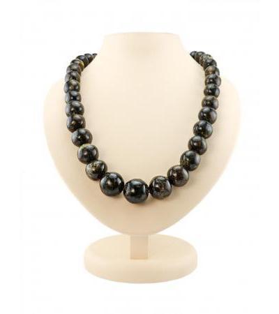 """Amber beads """"Black polished meteorite large"""""""