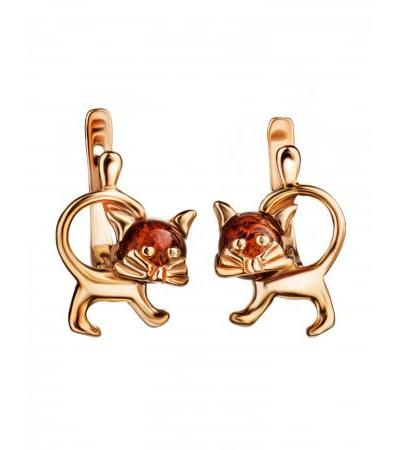 """Original earrings made of gilded silver and amber """"Cheshire"""""""