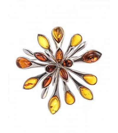 "Luxurious brooch-pendant made of silver and natural Baltic amber in cognac color ""Dahlia"""
