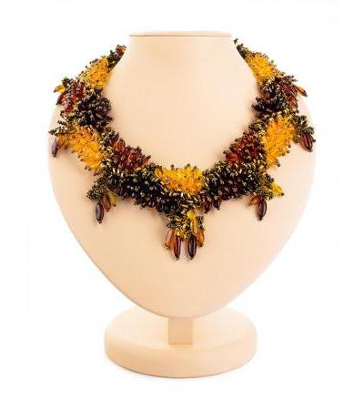 "Luxurious necklace ""Lukomorye"" made of beads and natural amber"