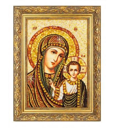 """Icon """"Our Lady of Kazan"""" from natural Baltic amber and mother of pearl"""