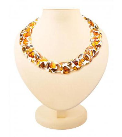 "Bright voluminous necklace made of natural amber in polymer resin ""Dalmatian"""
