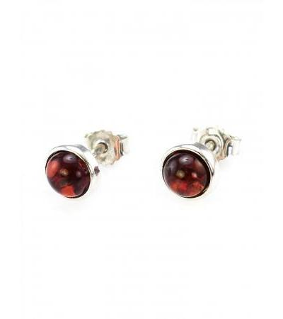"""Silver earrings-studs with inlays from natural cherry amber """"Berries"""""""