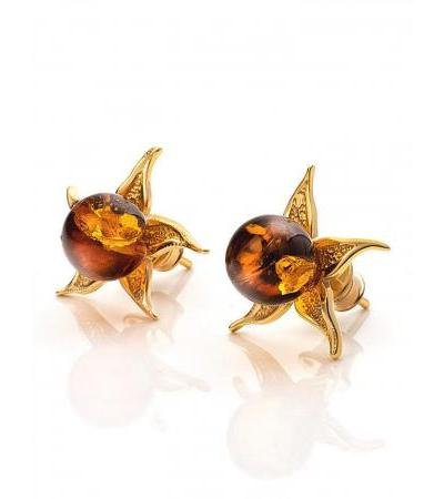 """Bright earrings-studs, decorated with amber of cognac color """"Cloudberry"""""""