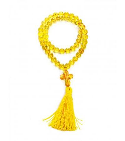 Orthodox rosary for 50 beads-balls made of natural lemon amber