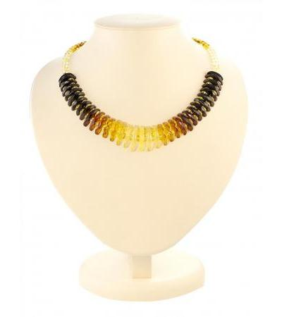 """Sparkling necklace made of natural Baltic amber """"Diamond tinted tangerine"""""""