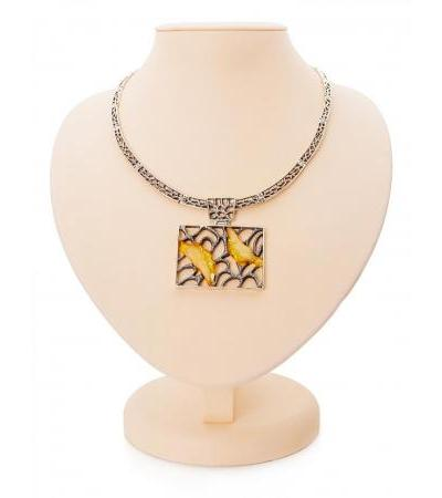 """Stylish necklace """"Modern"""" made of silver with natural landscape amber"""