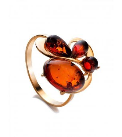 """Elegant gilded ring """"Symphony"""" with cognac amber"""