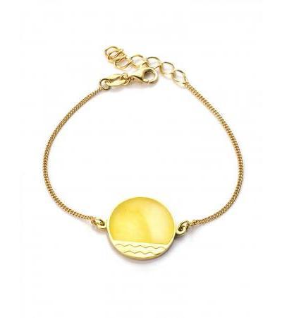 "Stylish bracelet ""Monaco"" made of gilded silver and amber. Amber®"