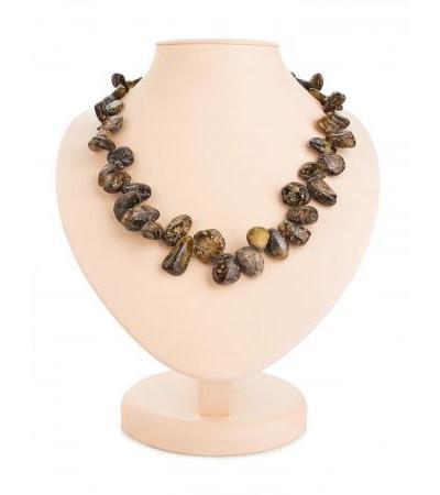 "Natural amber beads ""Healing sea buckthorn with crust"""