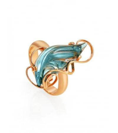 "Delicate ring in silver with gilding and topaz skye ""Serenade"""