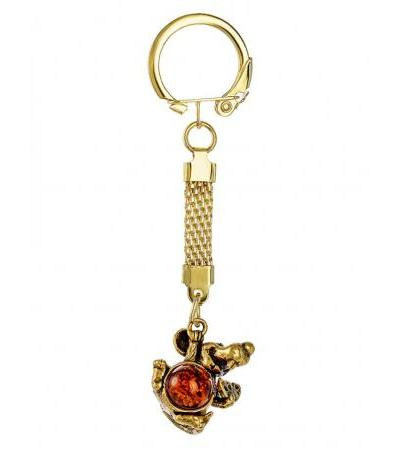 "Keychain with natural Baltic amber ""Happy Mouse"""