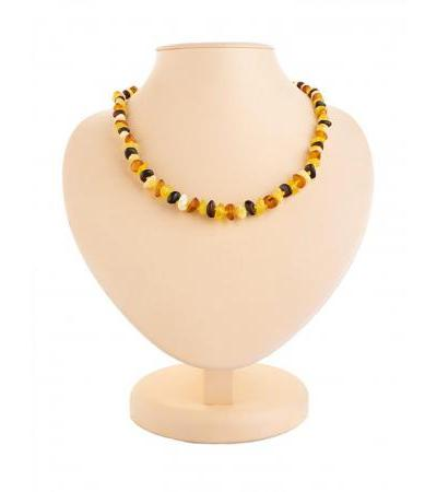 """Stylish beads from natural Baltic amber """"Matte motley pebbles"""""""