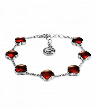 """Exquisite bracelet made of silver and natural cherry amber """"Monaco"""""""
