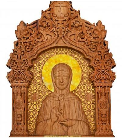 """Carved wooden icon """"Matrona of Moscow"""" with natural Baltic amber"""