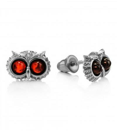 """Miniature earrings made of silver and natural amber of cherry color """"Owl"""""""
