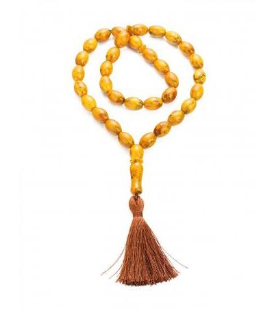 "Muslim rosary for 33 beads from molded Baltic amber ""Old motley olives"""